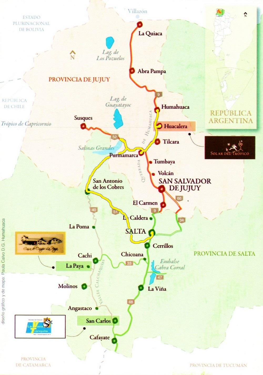 CARTE Jour 9 de Huacalera à Salta